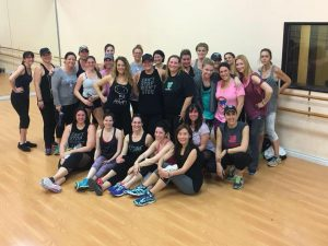 A photo of a full PlyoJam dance fitness class.