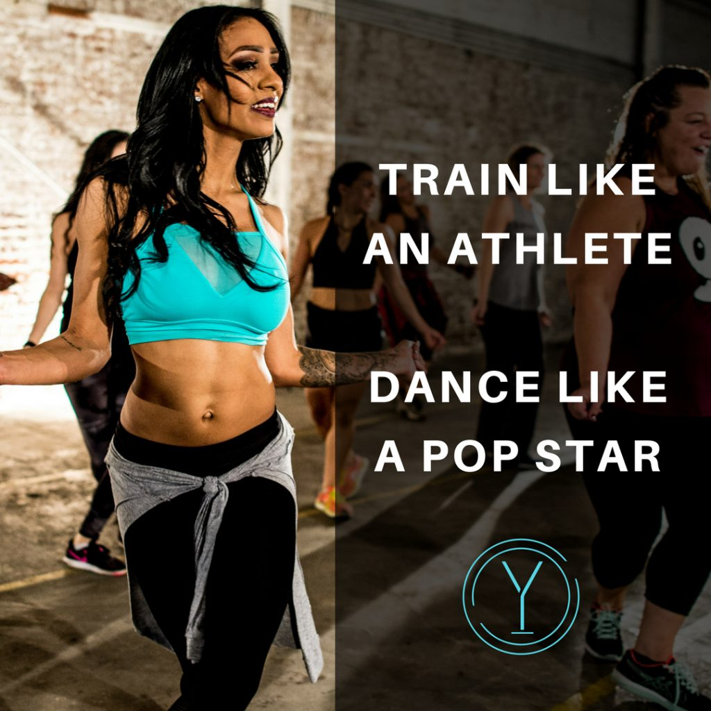 Picture of a girl performing PlyoJam Dance fitness with the words Train Like An Athlete and Dance Like a Pop Star