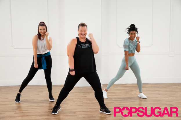 This is a photo of plus size fitness instructor and PlyoJam co-founder Stacey Beaman leading a workout on PopSugar Fitness with Christina Duerr and Deja Riley acting as her backup dancers.