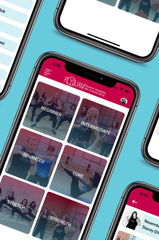Phone displaying online dance fitness app