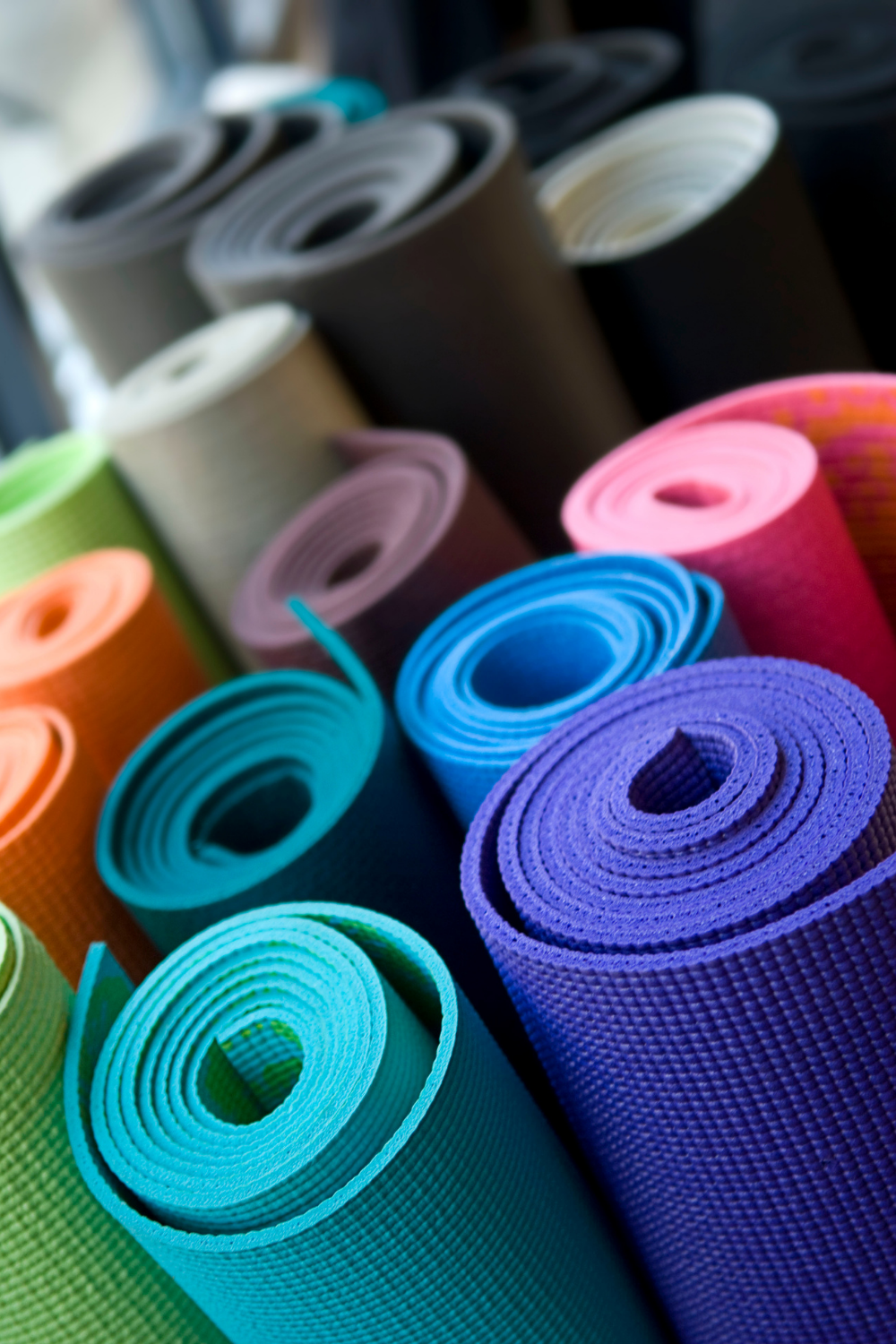 Various color yoga mats