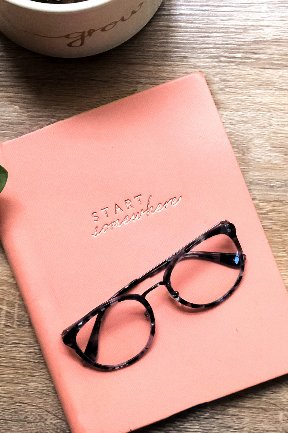 Fitness Journal with glasses