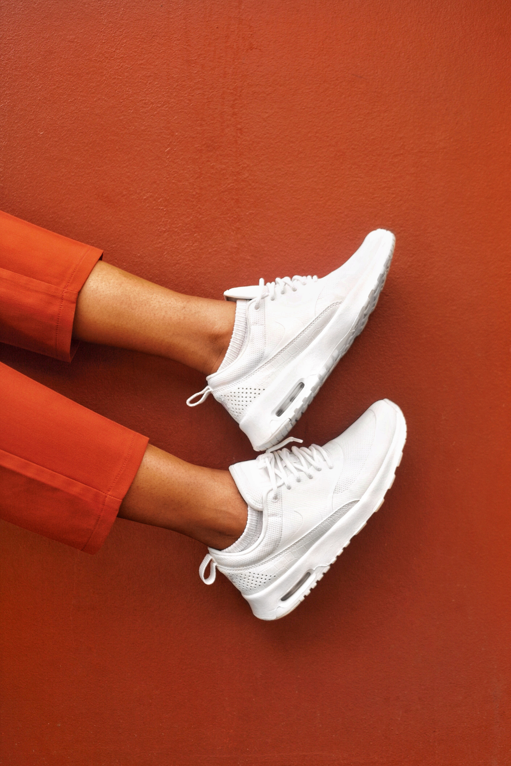 White sneakers for at home workout
